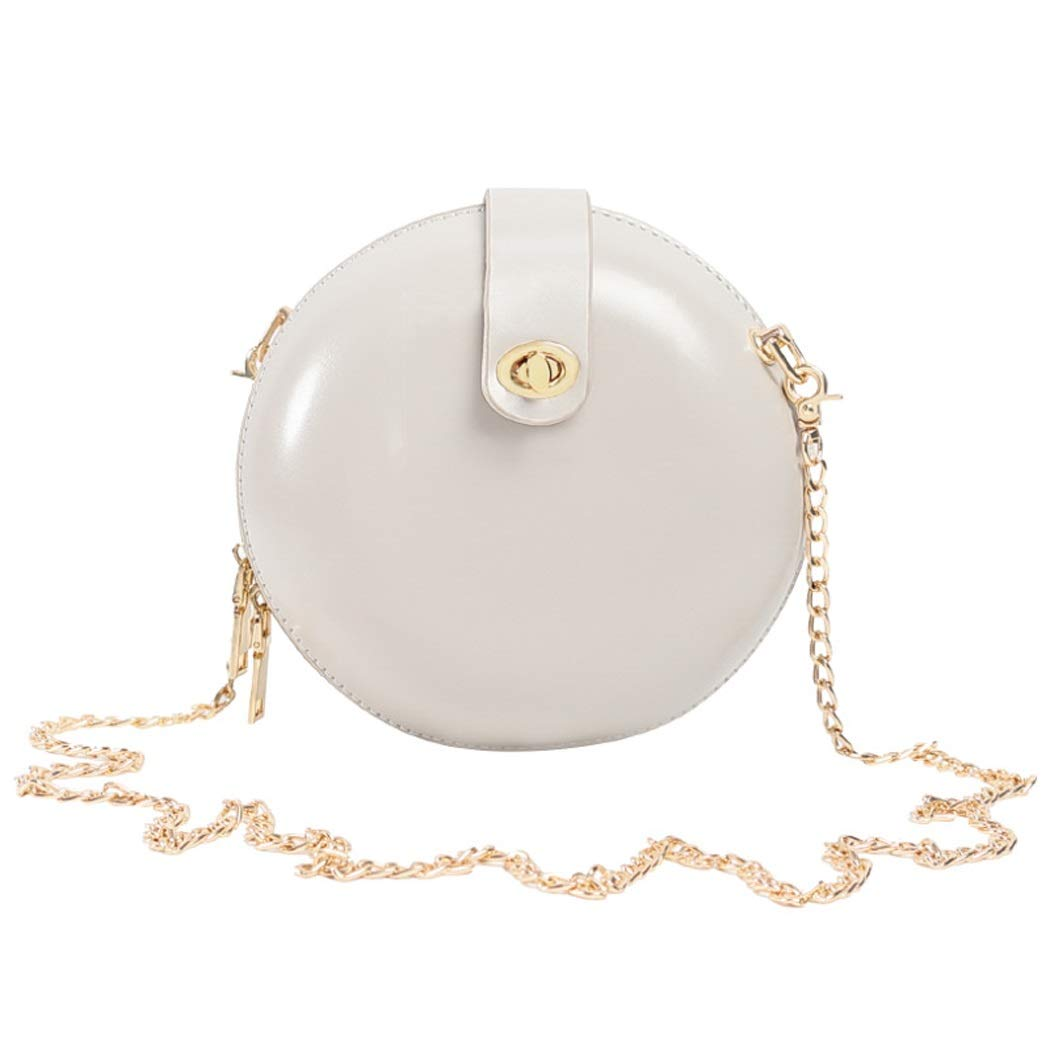 Color : Brown, Size : 18178cm XYQS New Wave Korean Version of The Wild Messenger Bag Popular Chain Small Round Bag for Women