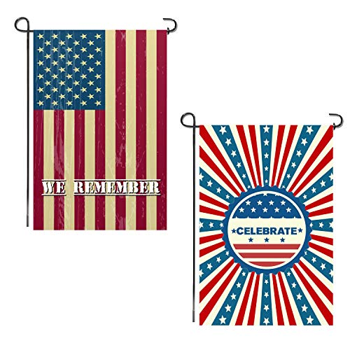 Shmbada 2 Pack American US Double Sided Garden Flag for Memorial Day, July Fourth, Independence Day, Patriotic Decorative Outdoor Flag for House Home Yard Porch Patio Lawn, Premium Fabric, 12