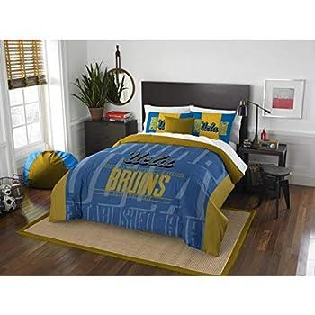 Image of 3pc NCAA UCLA Bruins Comforter Full Queen Set, Blue, Fan Merchandise, Team Logo, Unisex, Gold, College Basket Ball Themed, Team Spirit, Sports Patterned Bedding