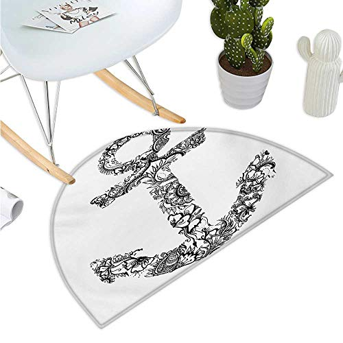 Anchor Semicircular Cushion Anchor Shape Flower Floral Ornamental Silhouette Vacation Old Times Happiness Print Entry Door Mat H 35.4
