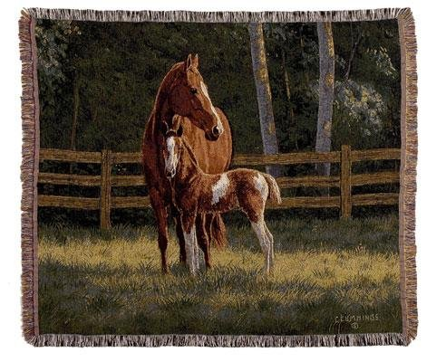 Scene Tapestry Throw - Josie Horses Mid-Size Deluxe Tapestry Throw Blanket Made in the USA