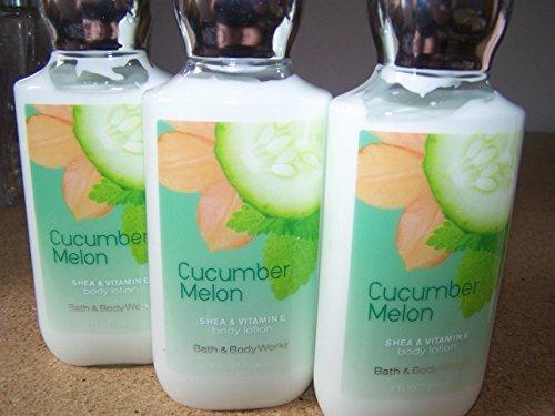 Lot of 3 Bath & Body Works Cucumber Melon Shea & Vitamin E Body Lotion 8 Fl Oz Each (Cucumber Melon)
