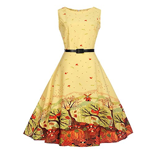 Dresses for Women Party,Mlide Women Vintage Sleeveless Casual Evening Party Prom Swing Dress Print Big Dress,Yellow S