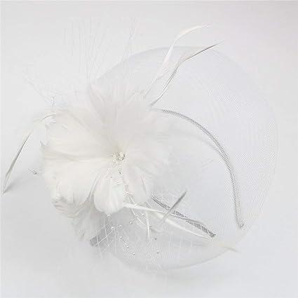 Targogo Sombreros Boda Señoras Velo Flor De La Clip Ocasional Flor De Pelo  Nupcial Cóctel Pastillero Sombrero Gorros Gorros (Color   Blanco 83ca84e5960