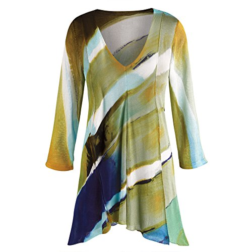 CATALOG CLASSICS Women's Tunic Top - Hand-Painted Brilliant Layers Long Blouse - 3X