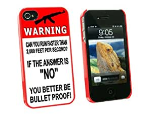 Graphics and More Warning Can You Run Faster Than Bullet - AK-47 - Snap On Hard Protective Case for Apple iPhone 4 4S - Red - Carrying Case - Non-Retail Packaging - Red