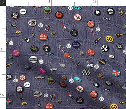 Spoonflower Buttons Fabric - 80S Retro Vintage Guitar Music by Pennycandy Printed on Petal Signature Cotton Fabric by The Yard