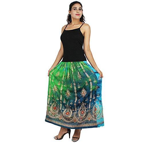 Indian Traditional Long Skirt,Belly Dance Skirt wd Sequins Work. (Sky Blue & Green)