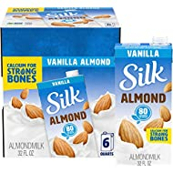 Silk Pure Almond Vanilla 32-Ounce (Pack of 6), Vanilla Flavored Non-Dairy Almond Milk, Dairy-free Milk, Vegan & Plant-Based