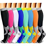 QUXIANG Copper Compression Socks for Women and Men - Best Medical Sports, Nursing, Running, Cycling, Athletic, Edema, Diabetic, Varicose Veins, Travel, Pregnancy & Maternity 15-20 mmHg (L/XL,Multi 15)