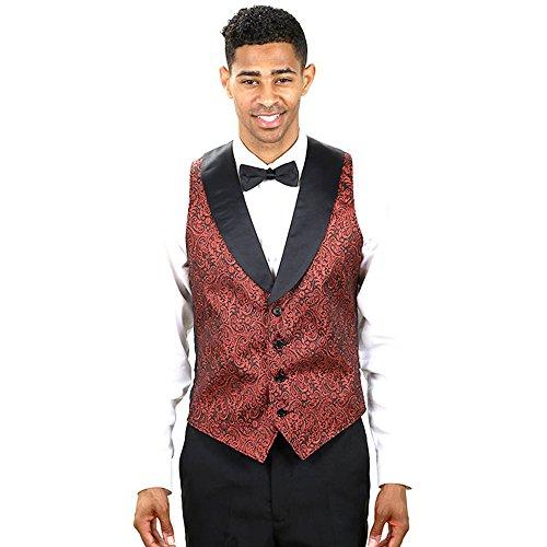 Men's Red Metallic Tuxedo Vest with Black Lapel and Match...
