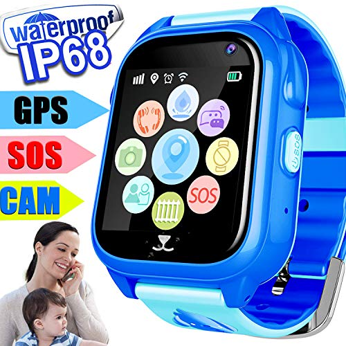 REAL GPS Tracker Smart watch Phone for Kids Boys Girls Waterproof IP68 Accurate Location Phone Smartwatch Game Wrist Watch SOS Pedometer Camera Flashlight Anti-lost Holiday Birthday Gift Learning Toy