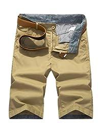 WSLCN Men's Straight Chino Short Slim Fit Cotton Bermudas Casual NO BELT