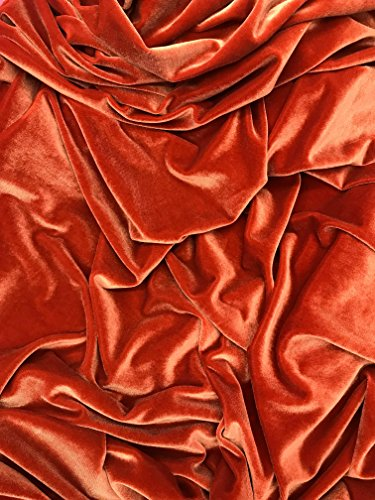 Stretch Velvet Solid Fabric by The Yard (Rust)