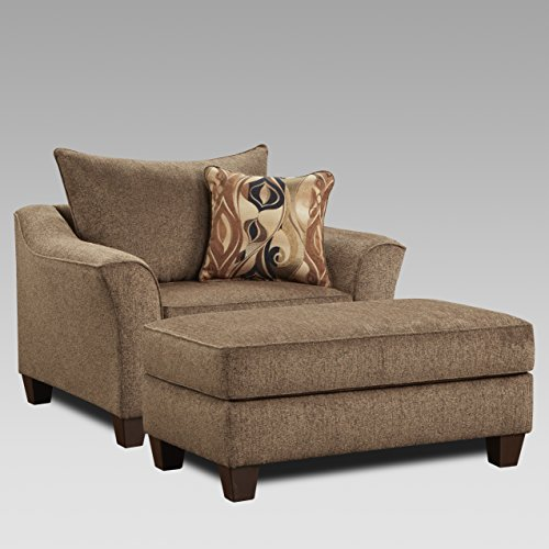 Roundhill Furniture LAF7701-05CC Camero Cafe Fabric Pillow Back Accent Chair & Ottoman -