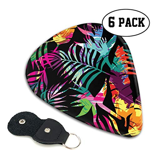Unique Leaves and Tropic Palm Tree Celluloid Guitar Pick 6 Pack - Music Gifts for Bass, Electric & Acoustic - Tropics Gift