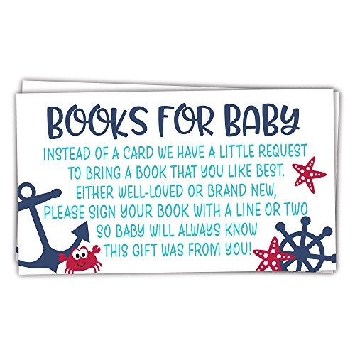 (50 Nautical Books for Baby Shower Request Cards - Invitation Inserts - Gender)