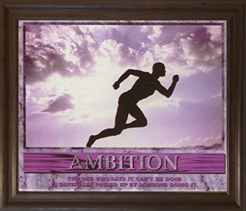 Running Athlete Motivational Ambition Wall Decor Brownrust Framed Art Print Picture - With Quotes Photos Running