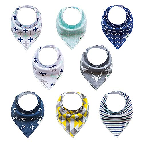 8-Pack Baby Bandana Drool Bibs, Baby Bibs Soft and Absorbent for Boys, Chic Drooling and Teething Bibs.