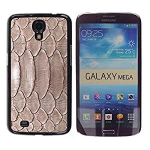 TopCaseStore / la caja del caucho duro de la cubierta de protección de la piel - Nature Reptile Skin Snake Brown Wallpaper - Samsung Galaxy Mega 6.3 I9200 SGH-i527