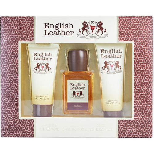 (1 Set) English Leather 3 Piece Gift Set for Men by Dana | Body splash 3.4 oz & aftershave balm 2 oz & body wash 2.5 oz | NIB Gift