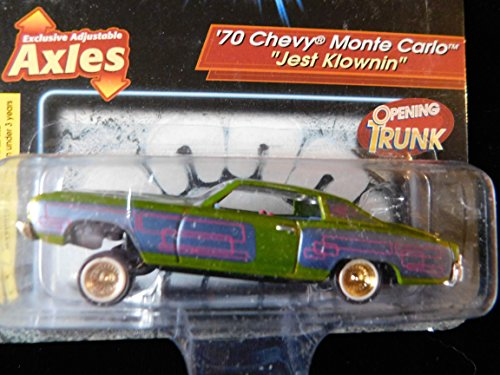 (70 Chevy Monte Carlo Lowrider named (Jest Klownin) issue#17 special graphics, adjustable axles, opening trunk Lowriders Edition 1:64 scale die-cast by Revell)