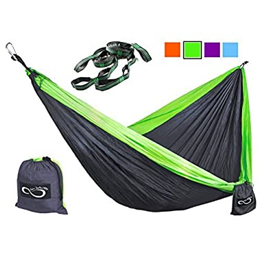 Double Camping Hammocks - Made From Strong and Lightweight Parachute Weather Resistant Nylon- Hammocks Include Stretch Resistant Tree Straps - Perfect for Travel or Hiking- Green Outside
