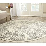 Safavieh Adirondack Collection ADR101B Ivory and Silver Oriental Vintage Distressed Round Area Rug (6' Diameter)