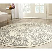 Safavieh Adirondack Collection ADR101B Ivory and Silver Oriental Vintage Distressed Round Area Rug (6 Diameter)