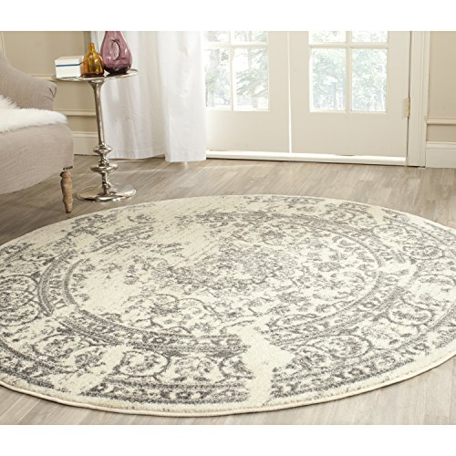 6 ft round rug. Safavieh Adirondack Collection ADR101B Ivory And Silver Oriental Vintage Distressed Round Area Rug (6\u0027 Diameter) 6 Ft F