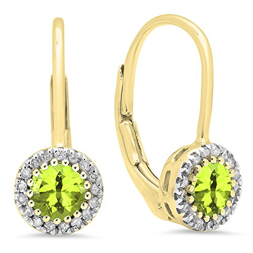 Dazzlingrock Collection 10K Round Peridot & White Diamond Ladies Halo Style Dangling Drop Earrings, Yellow Gold