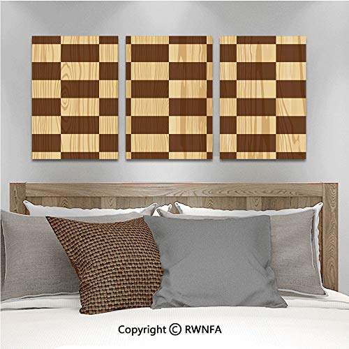 (Canvas Wall Art 3pcs Oil Painted Empty Checkerboard Wooden Seem Mosaic Texture Image Chess Game Hobby Theme Art Paintings for Home Decor 13.8x19.7inch,Brown Light Brown)