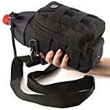 Water Bottle Carrier and Holder Bag - Molle Pouch Black Tactical for Hydration - Sport Travel Bicycle and Hiking 16 oz to 64 oz-Carrying Straps for Hand and Shoulder with Waterproof Pocket by P&P4EVER