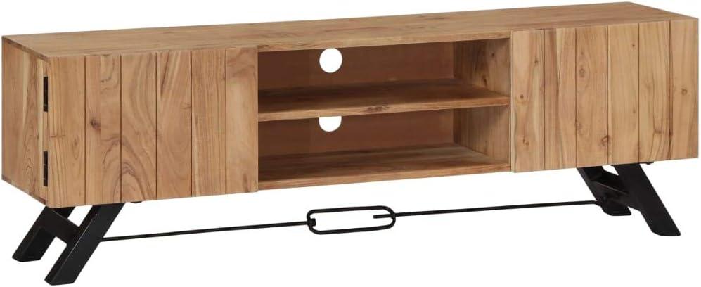 Vidaxl Akazienholz Massiv Tv Schrank Board Tisch Möbel Lowboard Fernsehtisch Fernsehschrank Sideboard Fernseher Schrank Fernsehmöbel 140x30x45cm Küche Haushalt