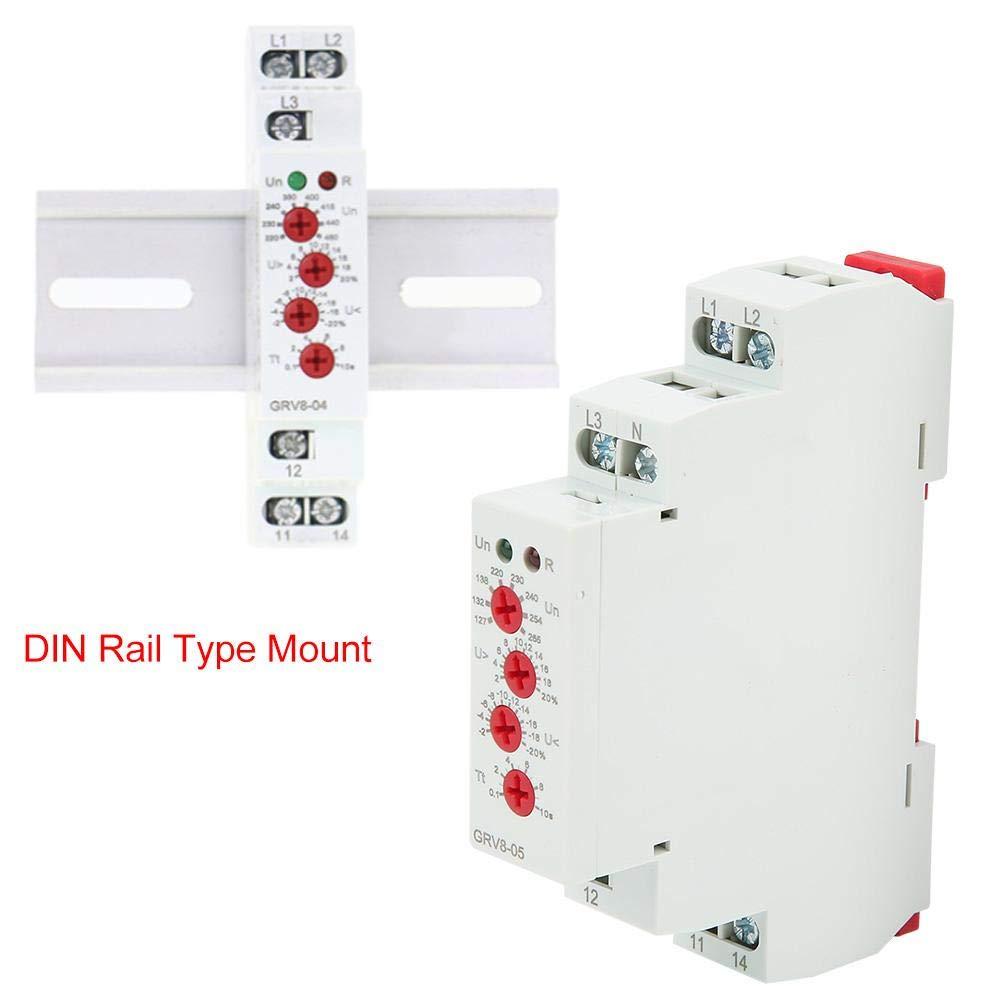 GRV8-05 3-Phasen-Spannungs/überwachungsrelais Einstellbar Schutz f/ür die /Überwachung der LN-Spannung