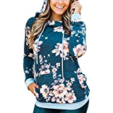 Hibluco Women's Casual Floral Printed Hoodie Pullover Sweatshirts with Pockets (Medium, Blue)