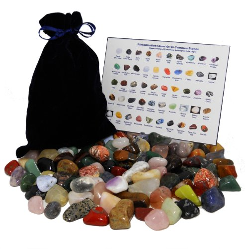 HUGE 101 STONE MIXED LOT Assorted Mix of Bulk Natural Mineral Tumbled Gemstones + Velvet Bag + ID Chart (Gem Stones And Crystals compare prices)