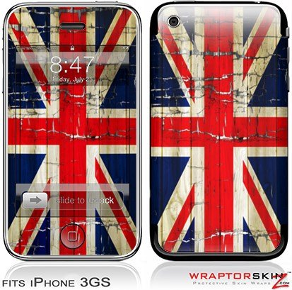 iPhone 3GS Decal Style Skin - Painted Faded and Cracked Union Jack British - 3gs Iphone Cracked