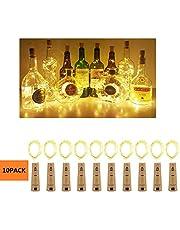 Opard Luci per bottiglie di vino con sughero 10 pezzi Filo di rame Fiabe Lampada per bottiglie Bianco caldo 2M / 20 LED Funzionamento a batteria per feste, matrimoni, Natale (10 PackWarm White-1,)
