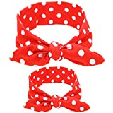 Chickwin Baby Headband kit, 2pcs Cute DIY Floral Rabbit Ears Elastic Cloth Headband Set for Mother and Baby (Red dot)