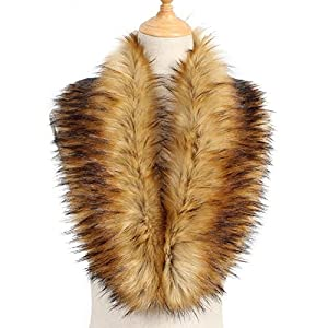 Yetagoo Faux Fur Collar Women's Neck Warmer Scarf Wrap Gatsby 1920s Shawl Accessories