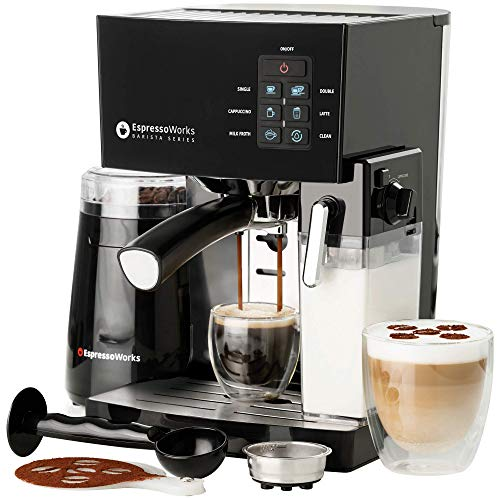 10 Pc All-In-One Barista Bundle Espresso Machine & Cappuccino Maker, 19 BAR Pump Set w/ Built in Milk Steam & Frother (Incl: Electric Coffee Bean Grinder, 2 Cappuccino & 2 Espresso Cups, Spoon/Tamper, Portafilter w/ Single & Double Shot Filter Baskets, 16 Art Stencil Templates), Black/Silver, Stainless Steel