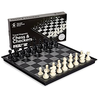 2 in 1 Travel Magnetic Chess and Checkers Game Set - 12.5 Inches