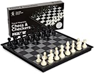 Yellow Mountain Imports 2 in 1 Travel Magnetic Chess and Checkers - 12.5