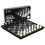 electronic battleship replacement - Yellow Mountain Imports 2 in 1 Travel Magnetic Chess and Checkers Game Set, 12.5 Inches