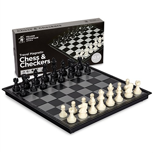 Yellow Mountain Imports 2 in 1 Travel Magnetic Chess and Checkers Game Set, 12.5 Inches (1 Import)
