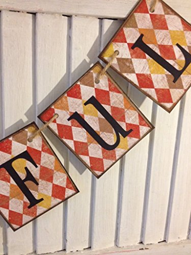 (Thankful Banner Sign Rustic Shabby Distressed Grunge Bunting Garland Argyle Autumn Fall Colors Thanksgiving Decoration)