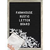 Farmhouse Wall Decor Felt Letter Board - 12 x 17 Inch Rustic Wood Frame, Black Felt with 374 Precut White Letters, Wall Hook, Canvas Bag, Stand - Great Shabby Chic Vintage Decor Message [Office Product]