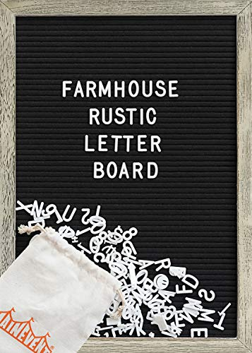 Felt Letter Board with 12x17 Inch Rustic Wood Frame, Script Words, Precut Letters, Picture Hangers, Farmhouse Wall Decor, Shabby Chic Vintage Decor, Black Felt Message Board
