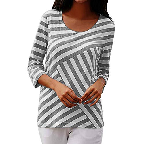 (TUSANG Women Tees The Fashion Summer Slim Tunic Crew Neck Striped Half Top Shirts Blouses(A-Gray,US-4/CN-S))